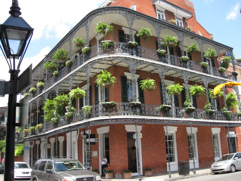 New orleans wrought iron balconies in the french quarter for French quarter balcony